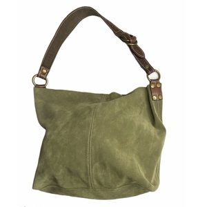 LUCKY BRAND Green Suede Hobo Bag & attached wallet